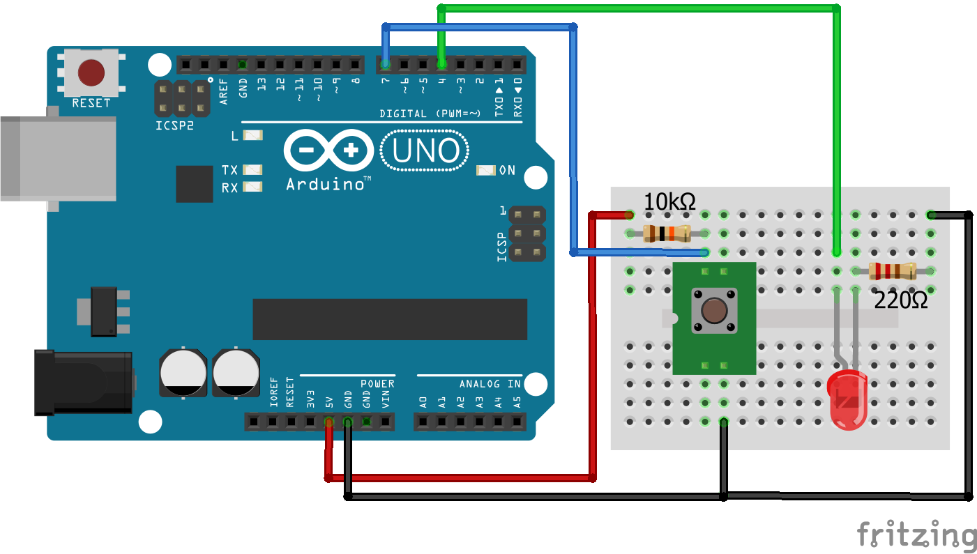 Wiring Pull Up Resistor LED Arduino Uno