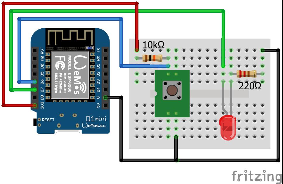 Wiring Pull Up Resistor LED ESP8266 WeMos D1 Mini