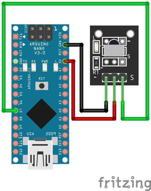 Wiring VS1838B Infrared Sensor Arduino Nano