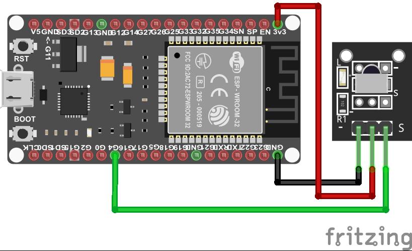 Wiring VS1838B Infrared Sensor ESP32 ESP-WROOM-32