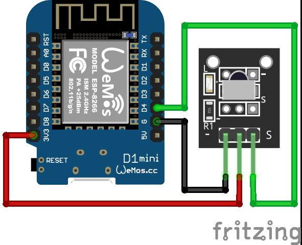 Wiring VS1838B Infrared Sensor ESP8266 WeMos D1 Mini