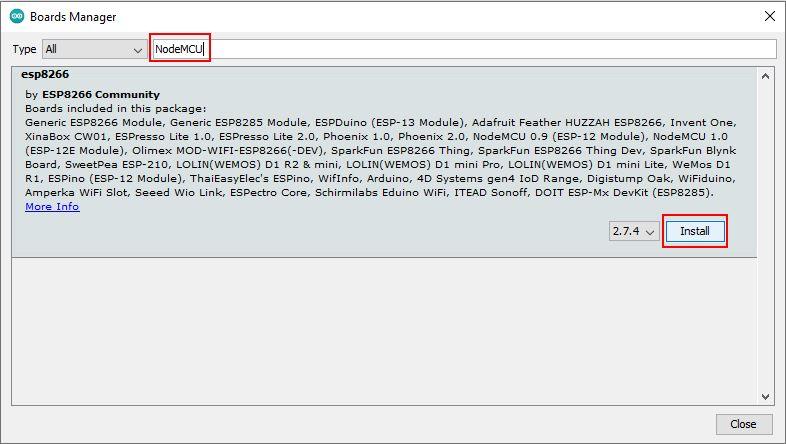 Arduino IDE Boards Manager ESP8266 NodeMCU