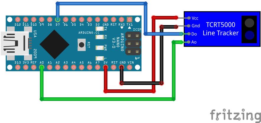 TCRT5000 Line Tracking Module with analog output Arduino Nano