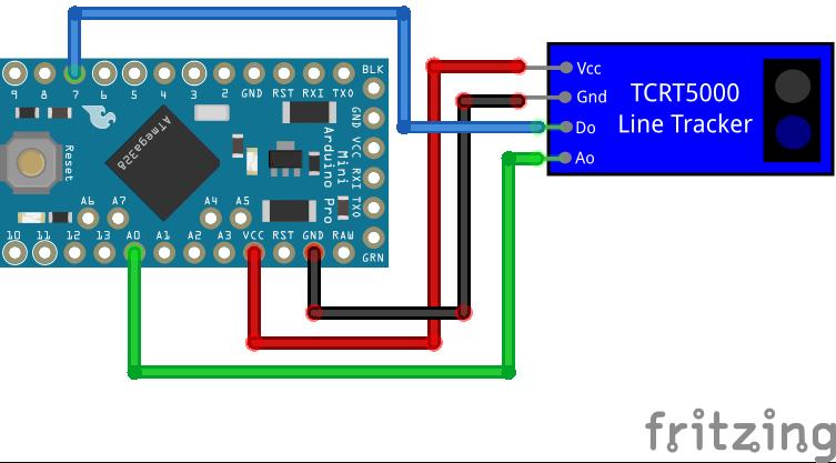 TCRT5000 Line Tracking Module with analog output Arduino Pro Mini