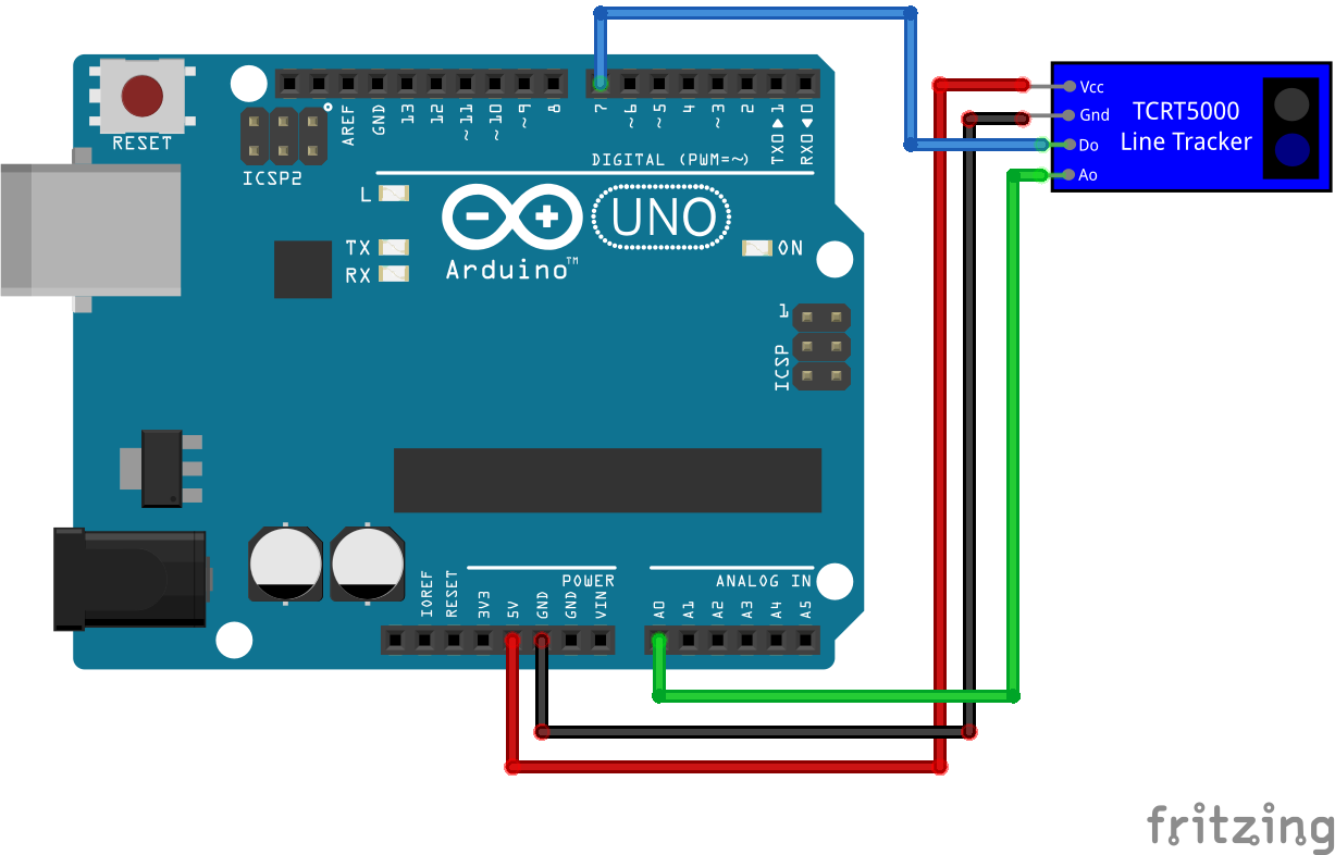 TCRT5000 Line Tracking Module with analog output Arduino Uno