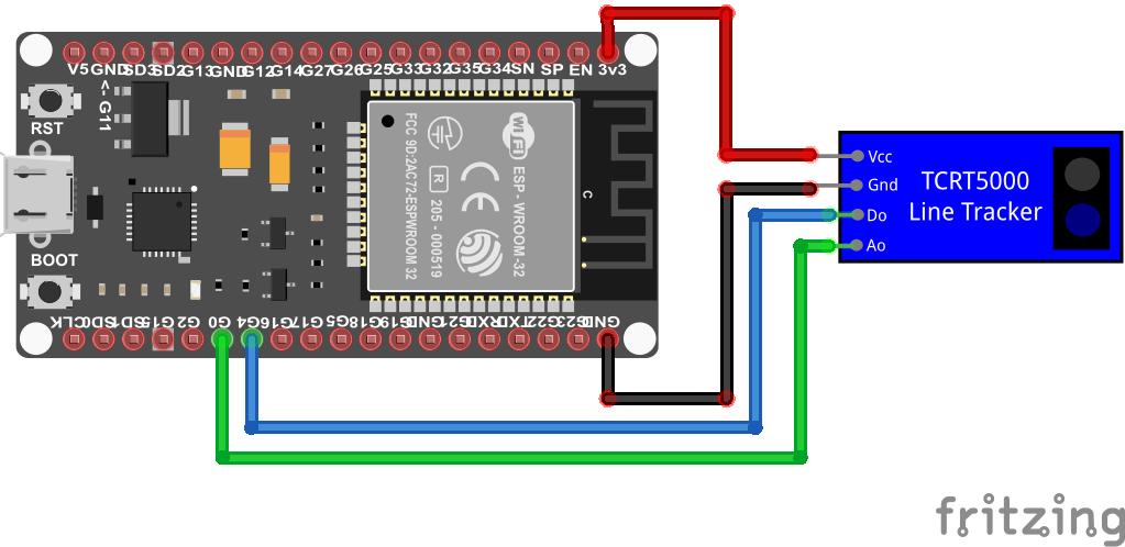 TCRT5000 Line Tracking Module with analog output ESP32 ESP-WROOM-32