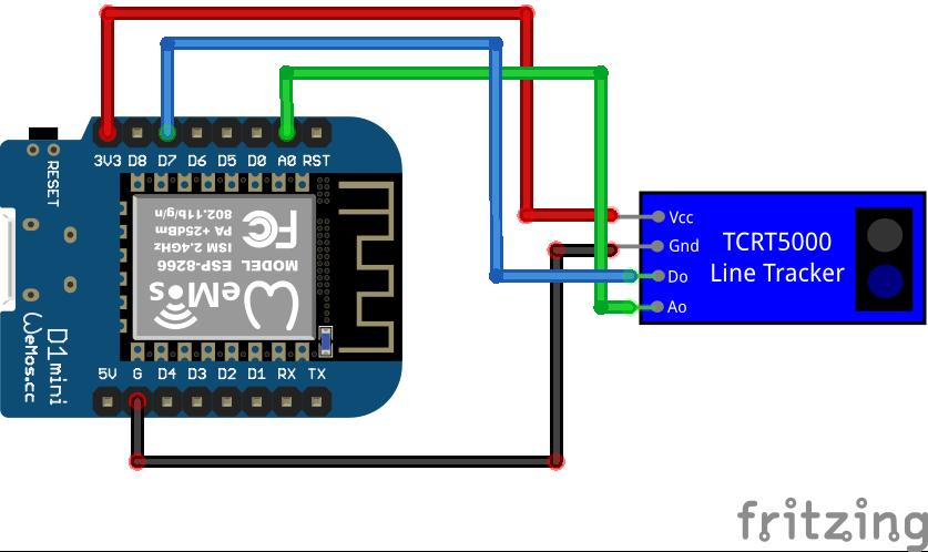 TCRT5000 Line Tracking Module with analog output ESP8266 WeMos D1 Mini