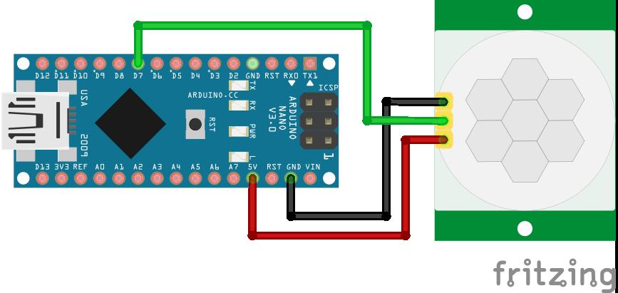 Wiring HC-SR501 Infrared Motion Sensor Arduino Nano