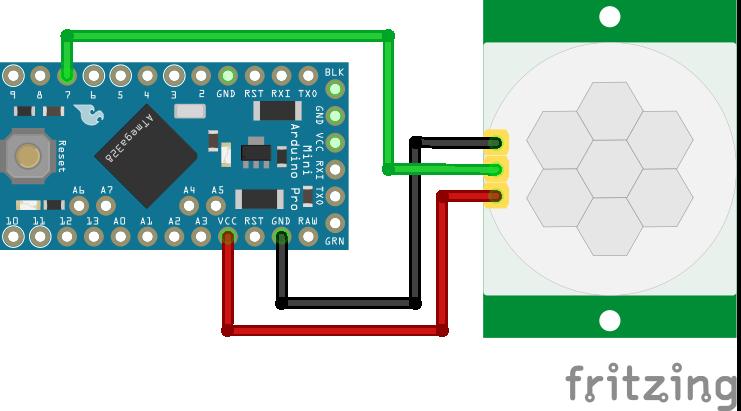 Wiring HC-SR501 Infrared Motion Sensor Arduino Pro Mini