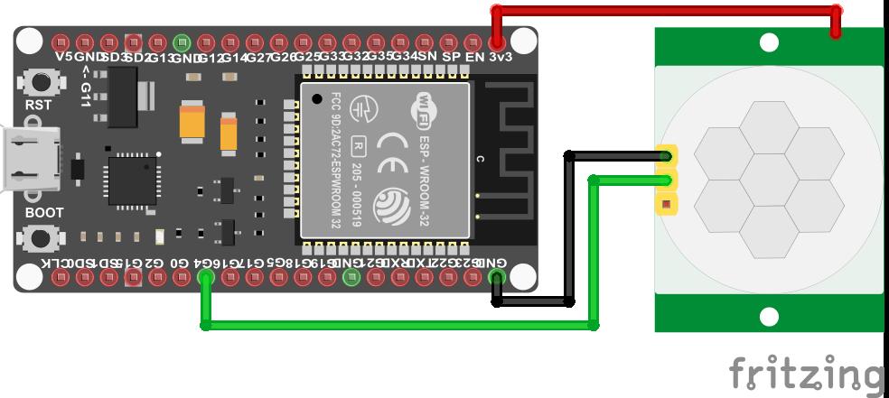 Wiring HC-SR501 Infrared Motion Sensor ESP32 ESP-WROOM-32