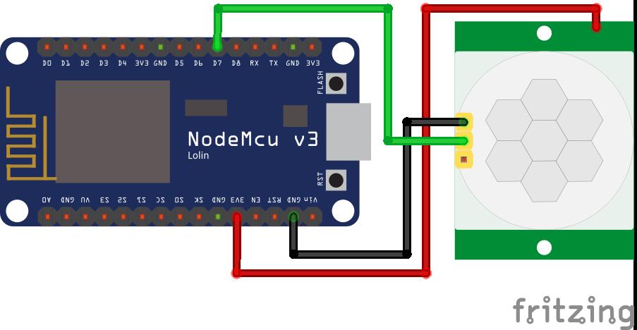 Wiring HC-SR501 Infrared Motion Sensor ESP8266 NodeMCU