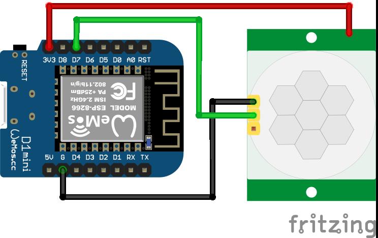 Wiring HC-SR501 Infrared Motion Sensor ESP8266 WeMos D1 Mini