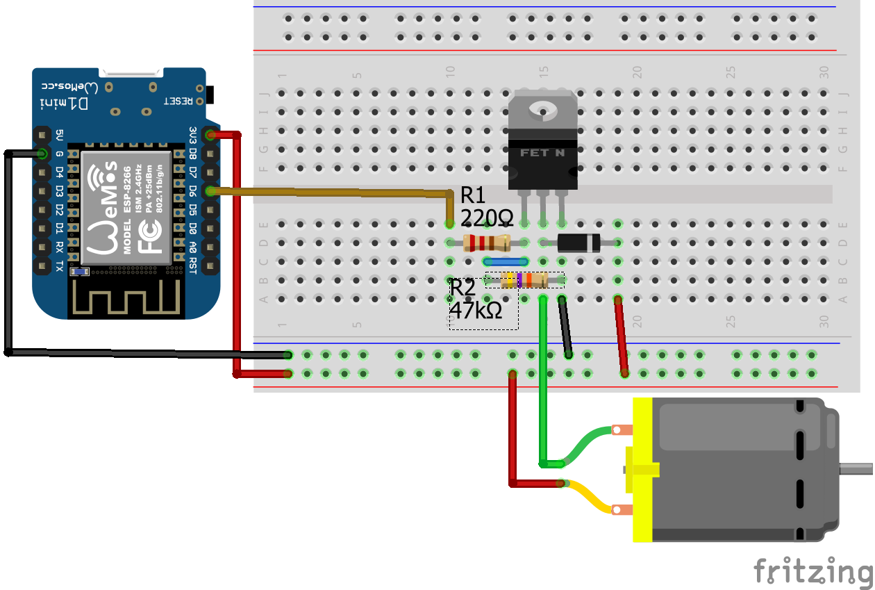 Connect DC Motor without IC ESP8266 WeMos D1 Mini
